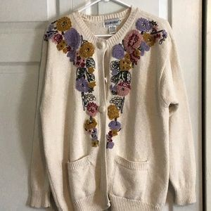 JH collectibles flowered front sweater.